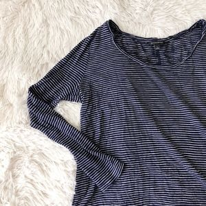 BANANA REPUBLIC navy blue+white stripe long sleeve